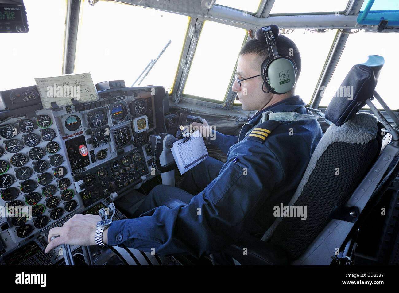 Pilote in Herkules cargo aircraft, Yellowknife, Northwest Territories, Canada - Stock Image