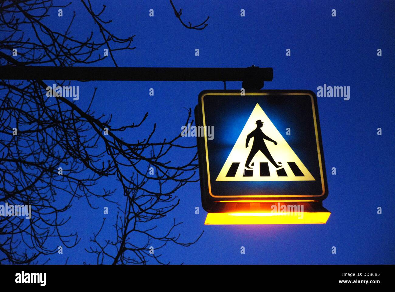 Illuminated pedestrian transition road sign - Stock Image