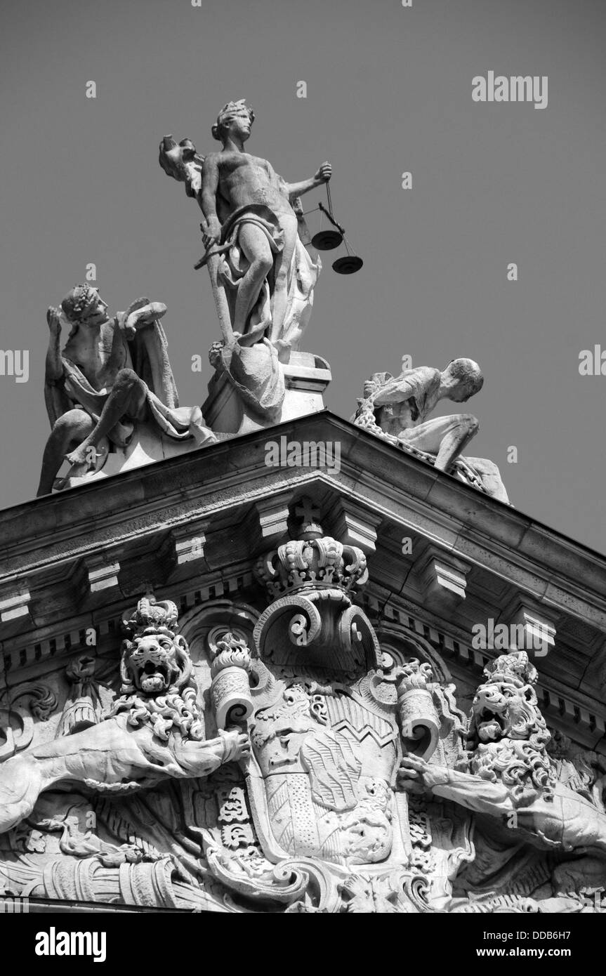 Justizia at the Justice Palace in Munich - Stock Image