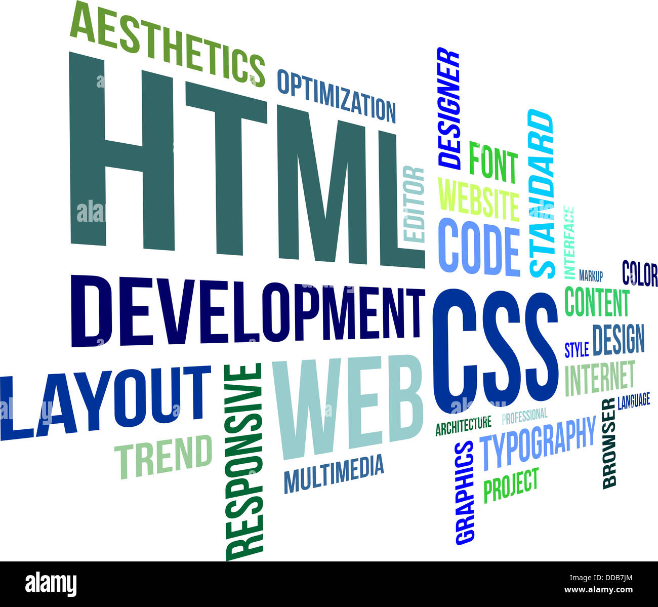 A word cloud of html and css related items - Stock Image