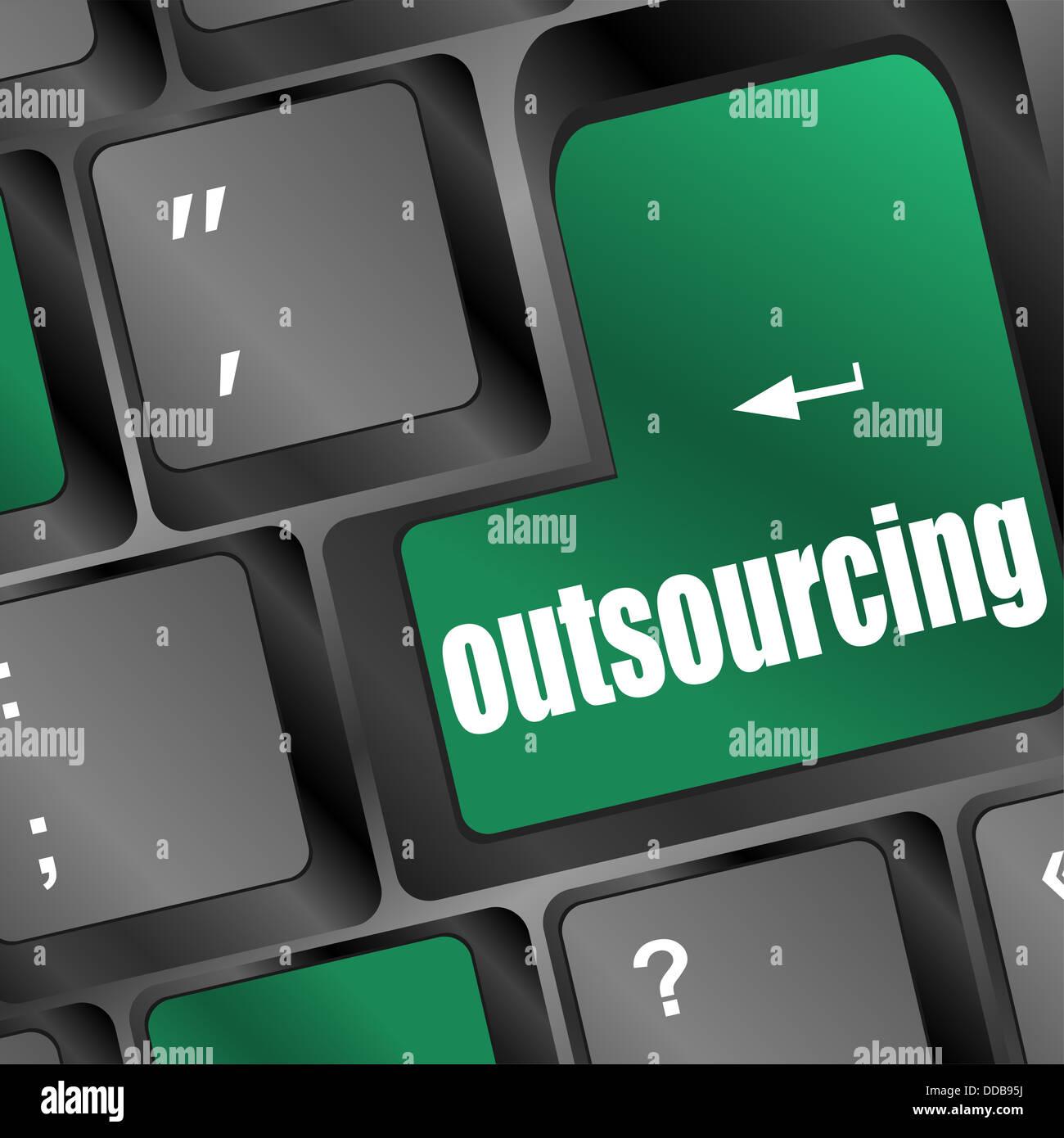 Outsourcing key on laptop keyboard - Stock Image
