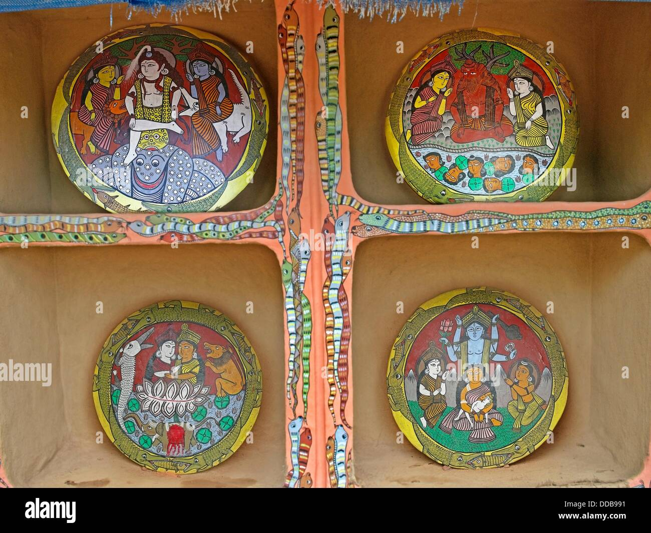 Painting of the Myth of the Ganga-Durga clash on terracotta plates are displayed in a Museum, Madhya pradesh, India - Stock Image