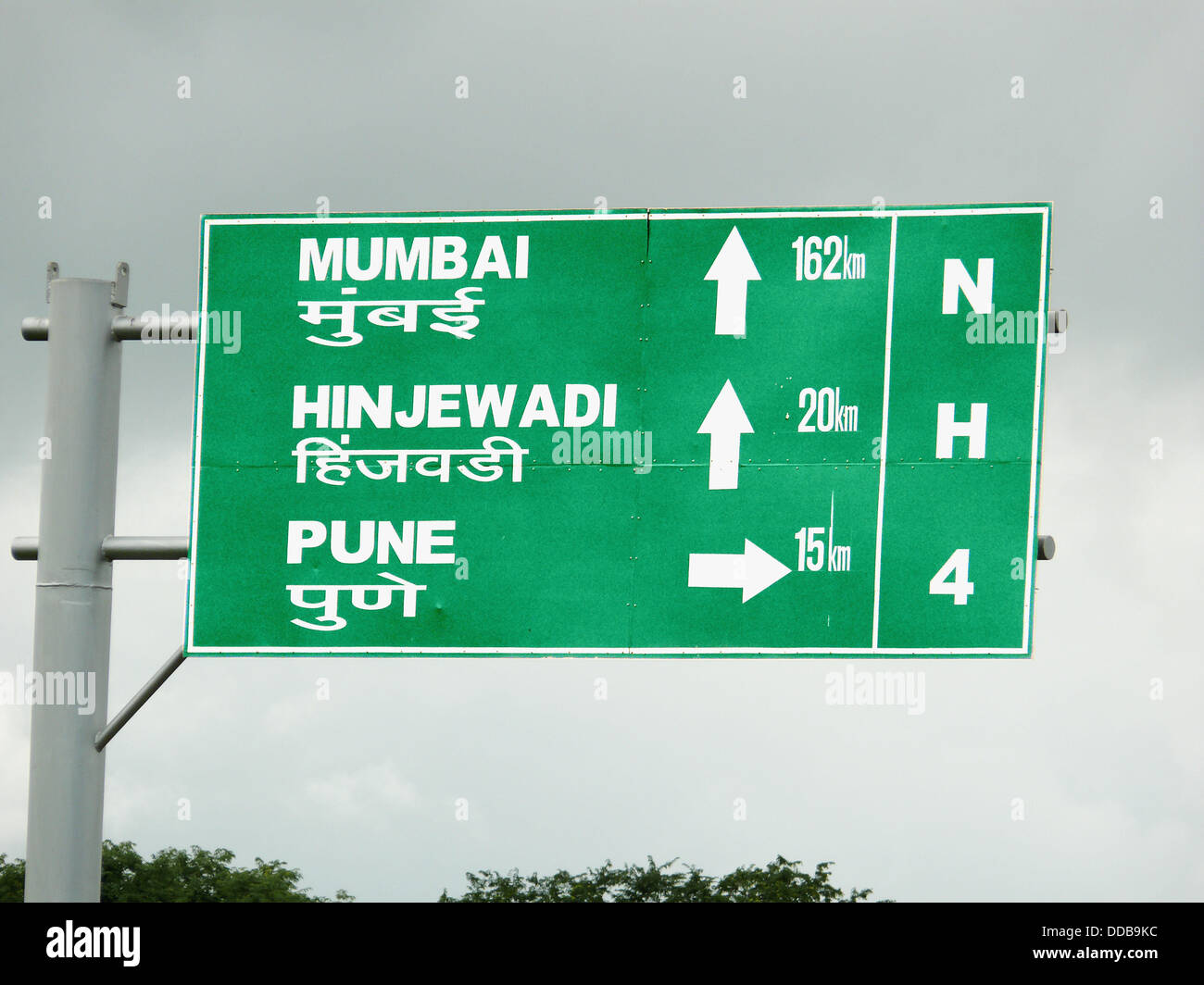 A symbolic board on a national highway roadside is showing distances of certain places from that place. Pune, Maharashtra, - Stock Image