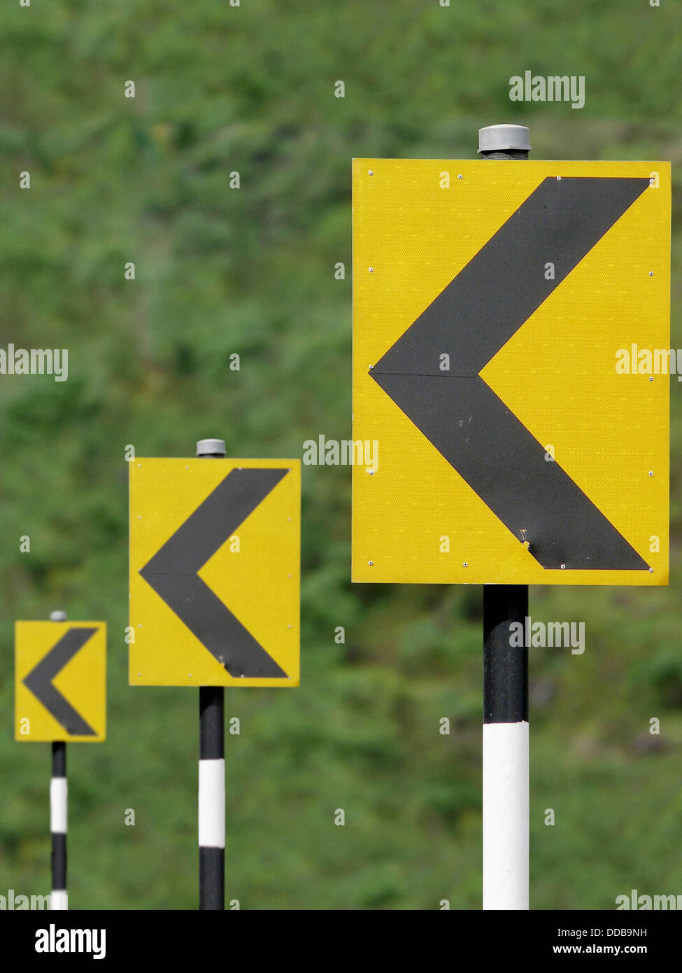 Road sign boards in sequence showing turning driving directions Katraj Bipass Highway, Pune, Maharashtra, India - Stock Image