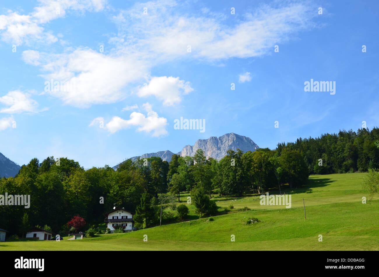 Bavarian farmhouses, Untersberg mountain, Hintergern, part of Maria Gern, Berchtesgaden - Stock Image