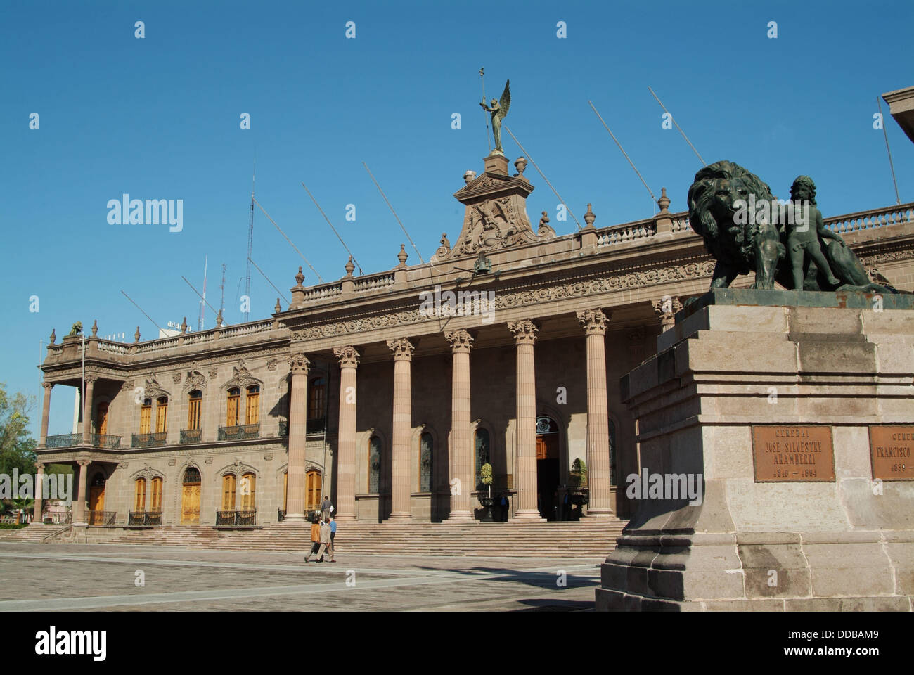Neoclassical Palacio de Gobierno (b. 1865) in the Macroplaza, Monterrey. Nuevo León, Mexico Stock Photo