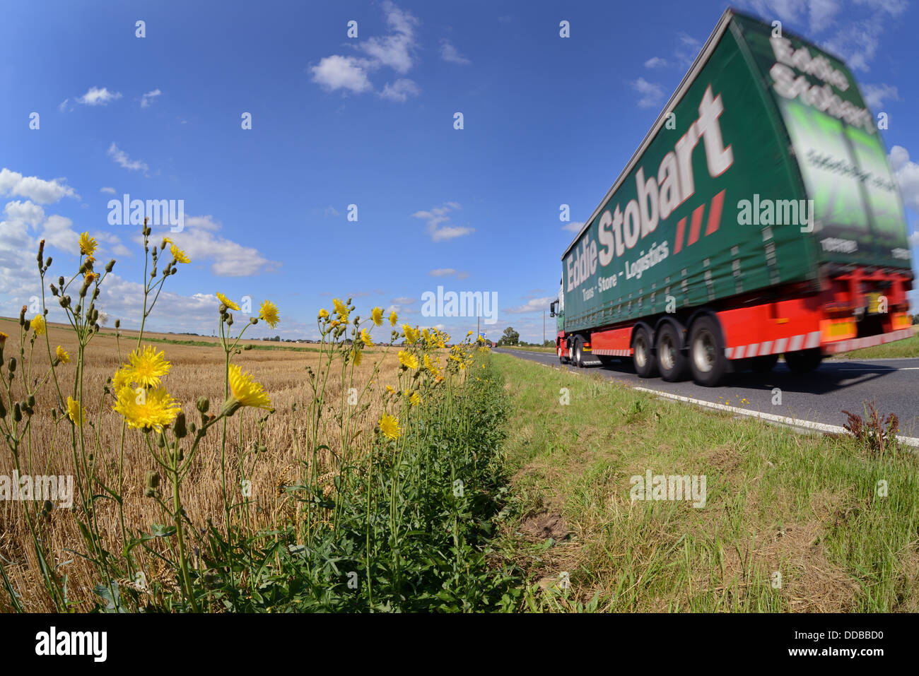 lorry angle view of lorry traveling along country road near Leeds Yorkshire United Kingdom Stock Photo