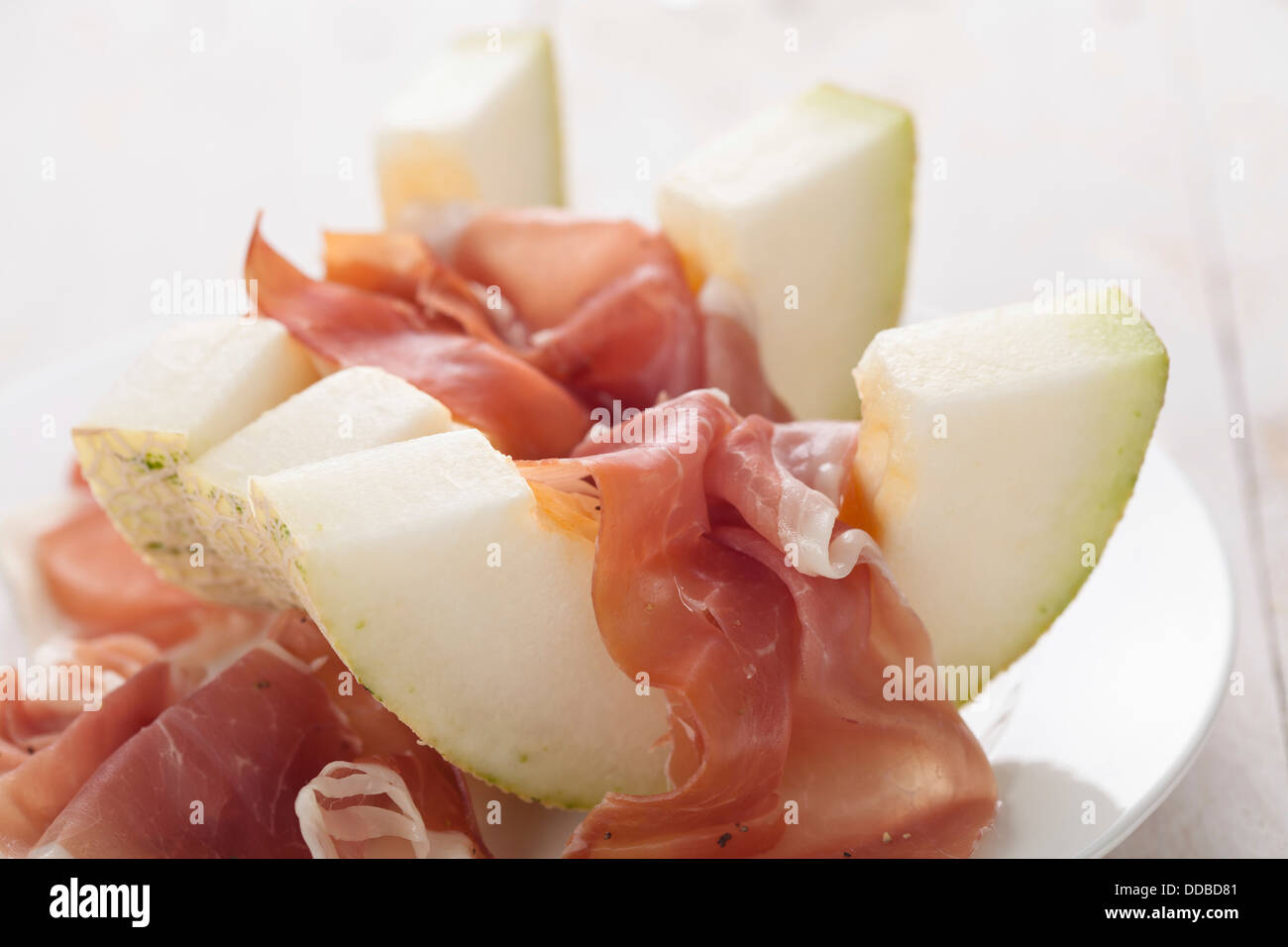 Melon with parma ham - Stock Image