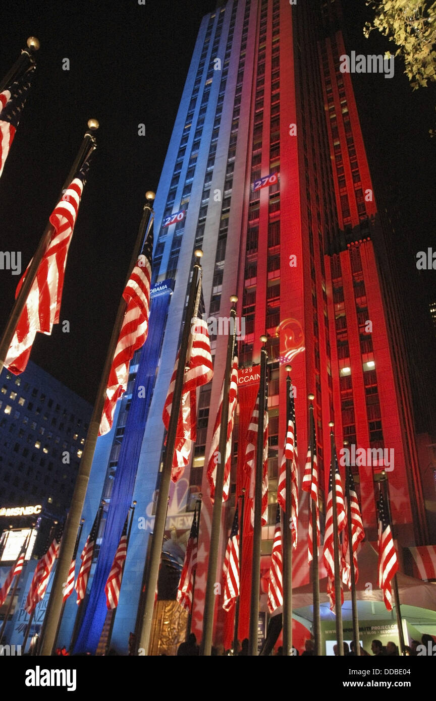 New York City USA, the Rockefeller Center illuminated in blue Democrats color and red Republicans the night of Obama´s - Stock Image