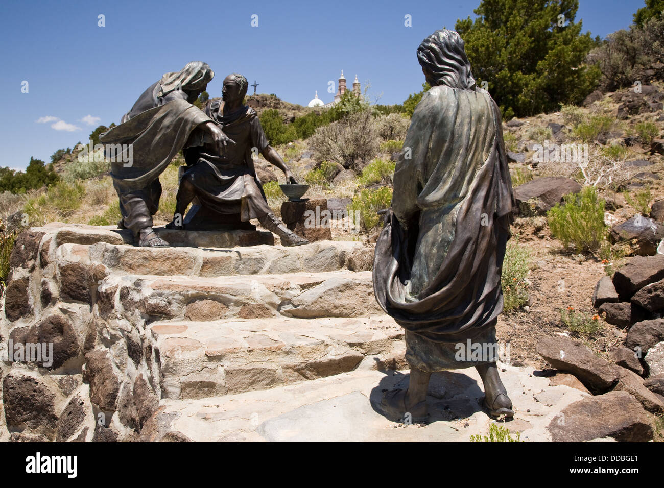 Huberto Maestas sculpture at the Stations of the Cross Shrine in San Luis, CO, USA - Stock Image