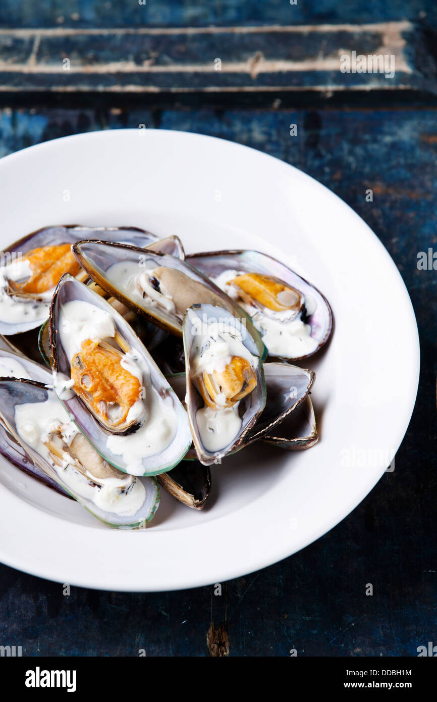 Prepared mussels on white plate - Stock Image