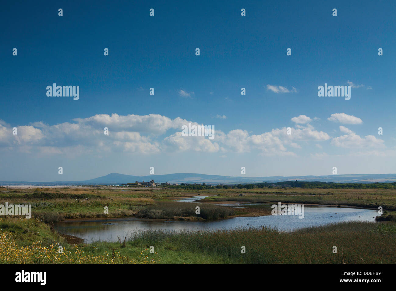 Spey Bay and Kingston on Spey at the outflow of the River Spey and the Moray Firth, Moray Stock Photo