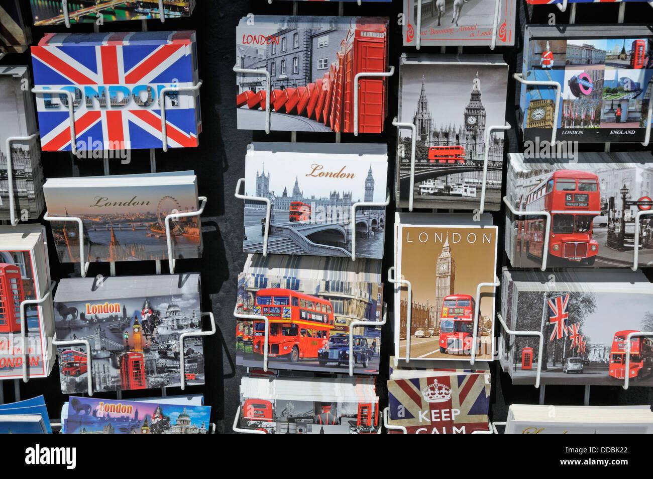 London, England, UK. London postcards on sale - Stock Image