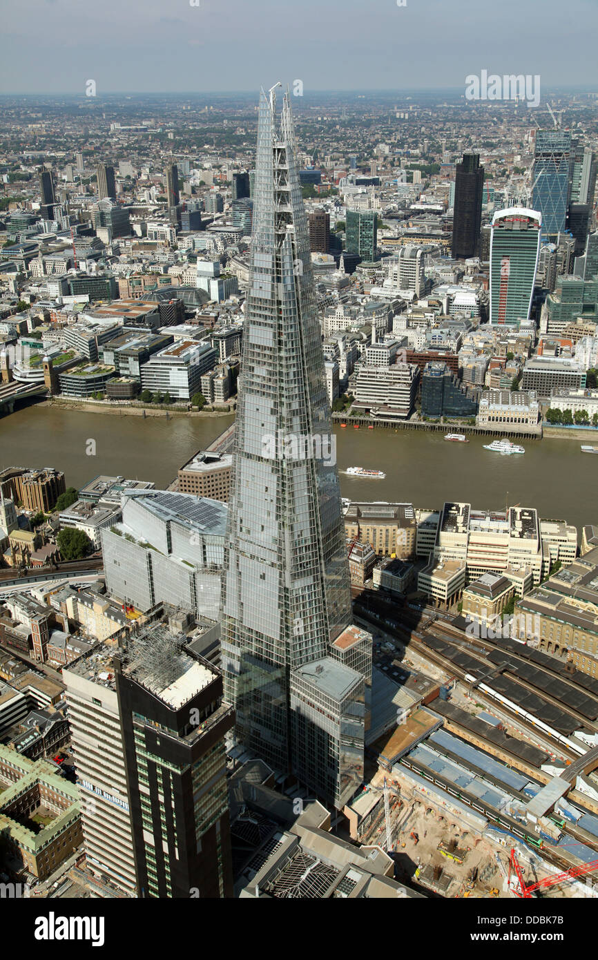 aerial view of The Shard and The City of London with The Walkie Talkie building - Stock Image