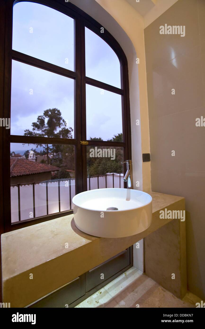 Guatemala, Colonial Home, Bathroom, Sink And Window Stock ...