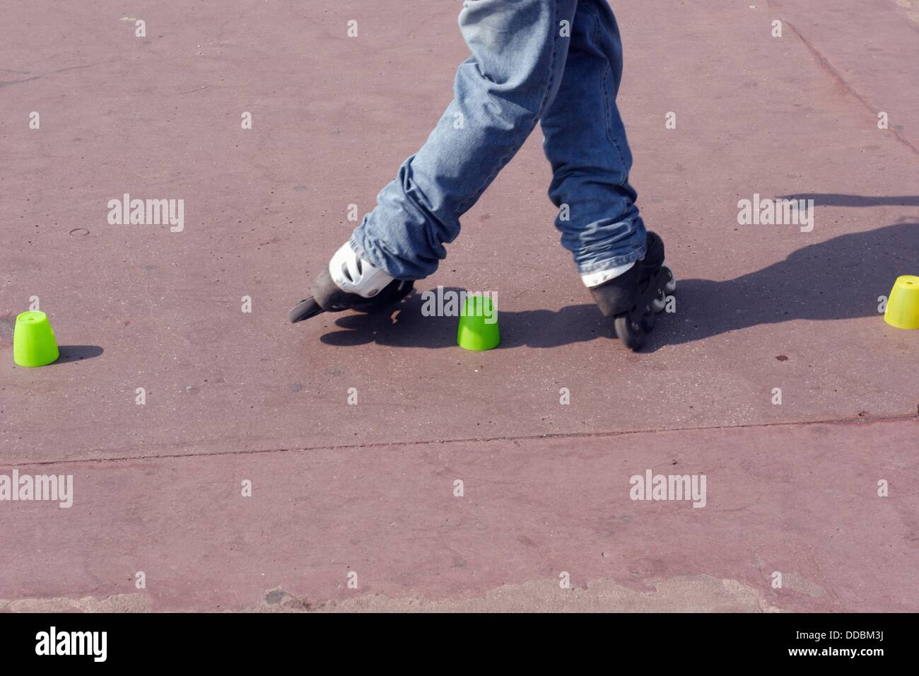 Roller blader performing tricks on Promenade des Anglais in Nice France Stock Photo
