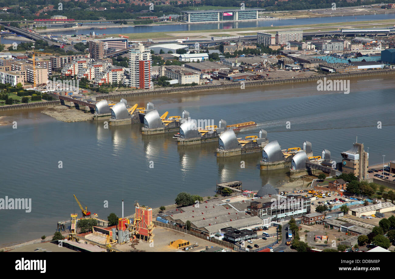 aerial view of The Thames Barrier in East London - Stock Image
