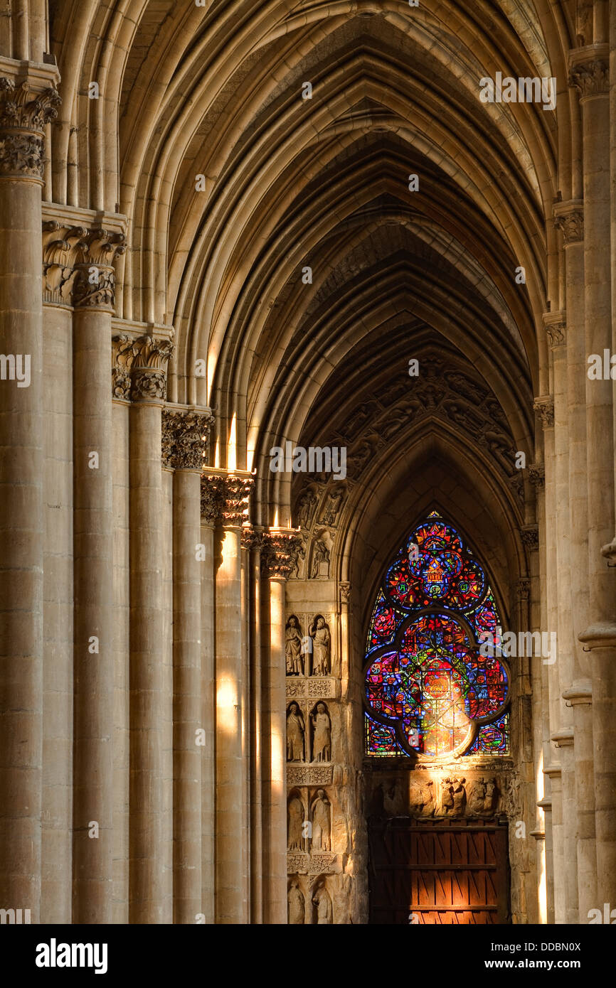 The Interior Of Notre Dame De Reims Cathedral In Reims, France.   Stock  Image