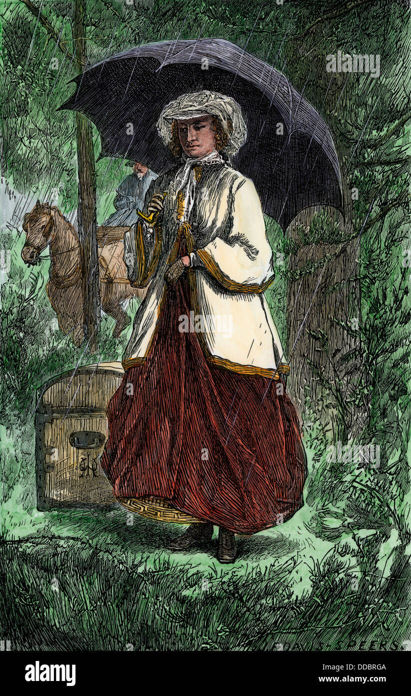 Woman abolitionist traveling to the U.S. South before the Civil War. Hand-colored woodcut - Stock Image