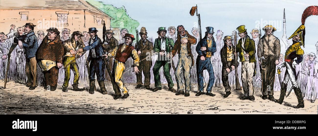 Caricature of militia drilling, circa 1800. Hand-colored woodcut - Stock Image