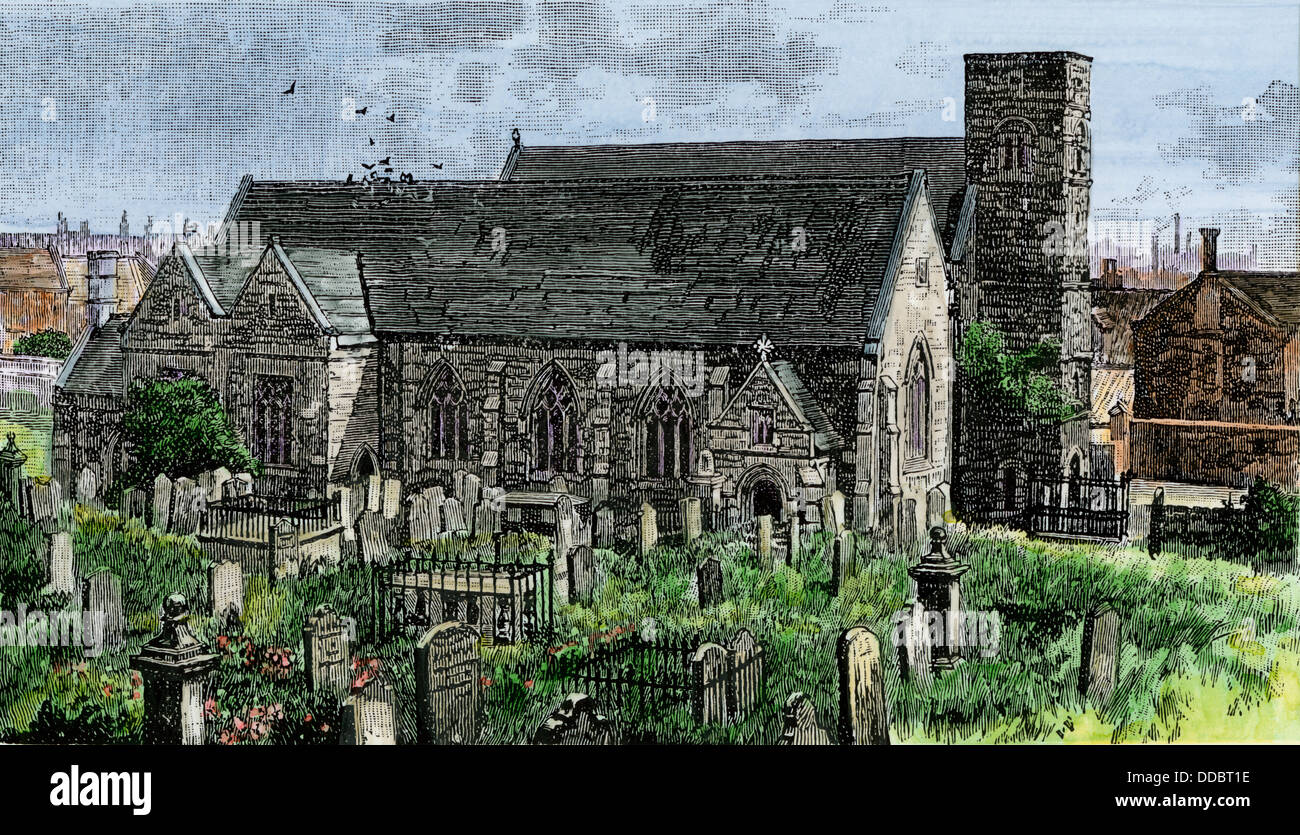 St Peter's Church at Monkwearmouth, England, founded in the 7th century. Hand-colored woodcut - Stock Image