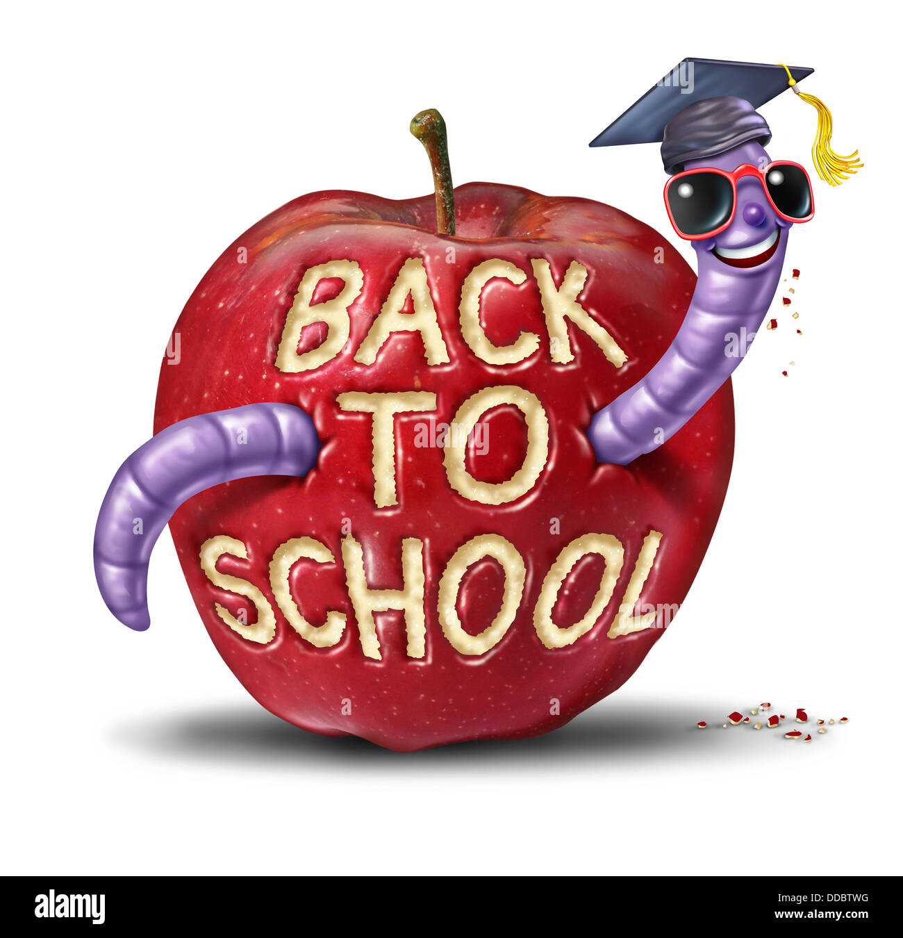 Back to school apple with a fun worm character wearing a graduation cap who has eaten the words from the fruit as - Stock Image