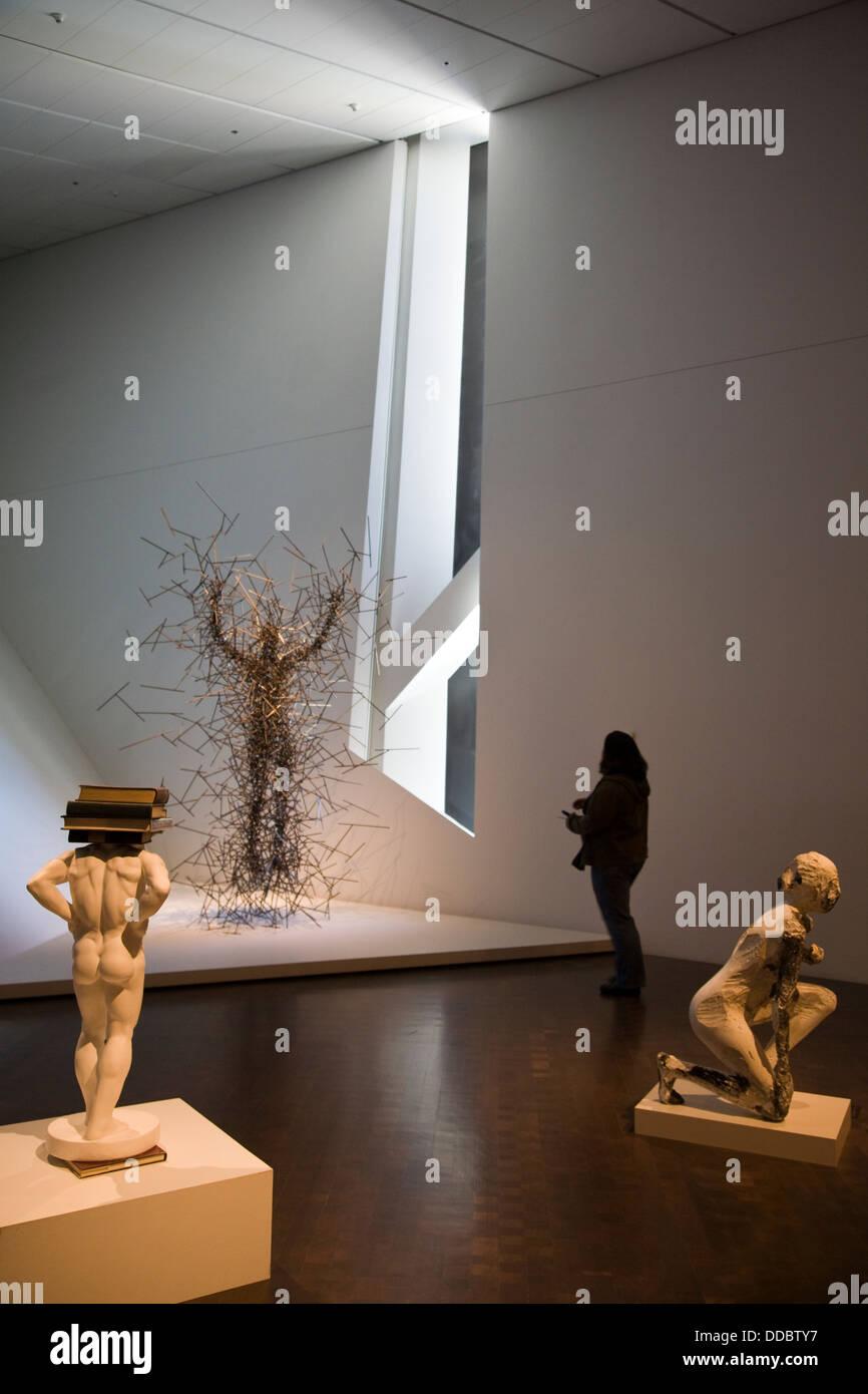 Art display, Frederic C. Hamilton addition, Denver Art Museum, Civic Center Cultural Complex, Denver, CO, USA - Stock Image