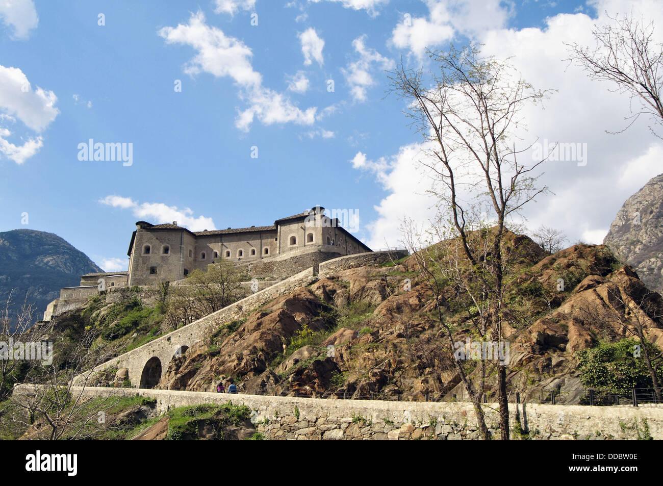 Italy, Aosta Valley, Bard Castle - Stock Image