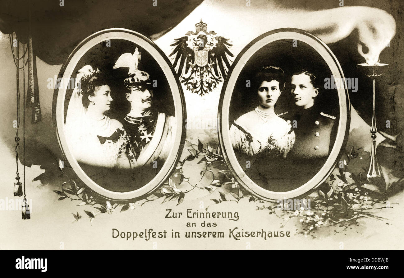 Commemorative card for silver wedding anniversary in 1906 by William II, - Stock Image