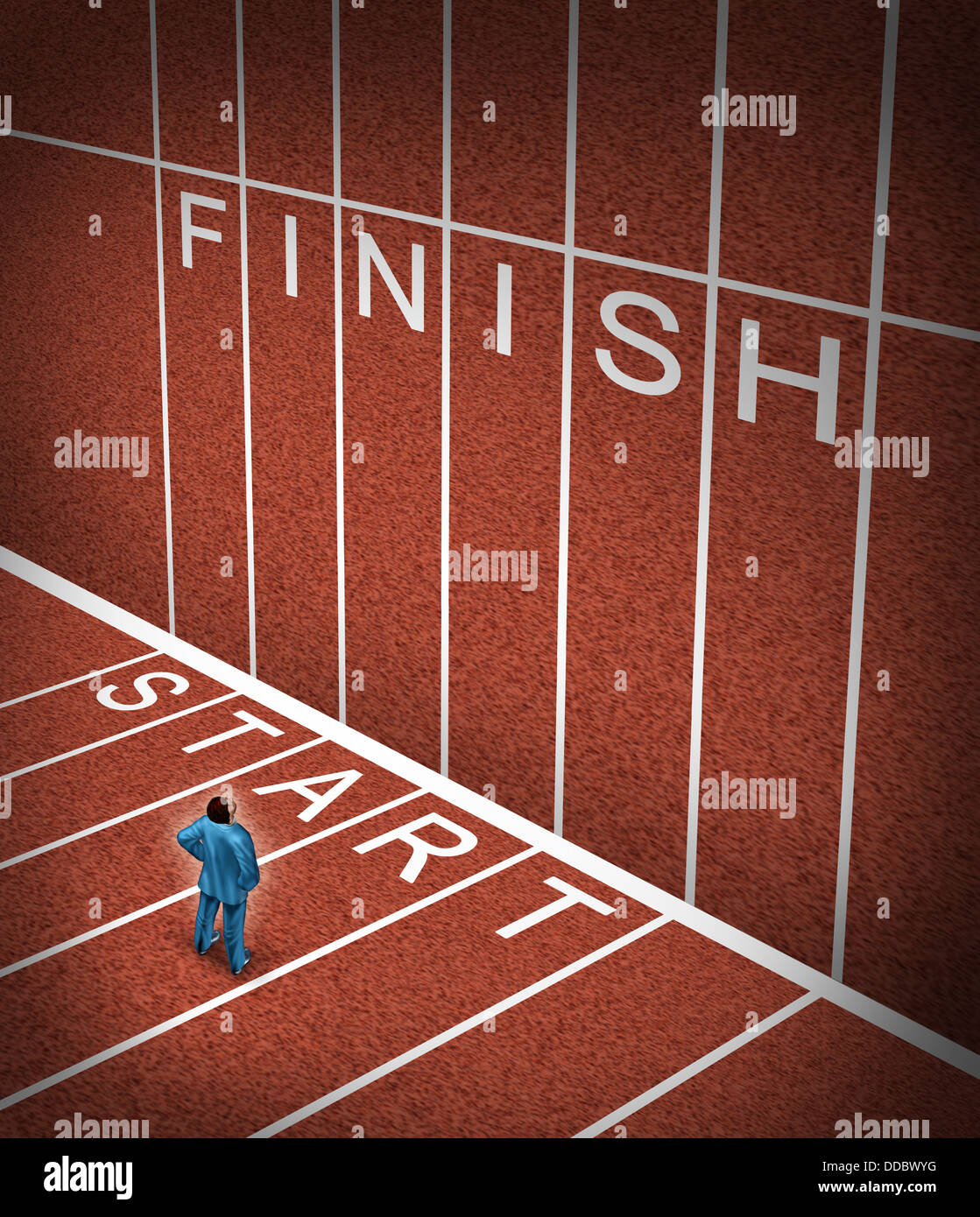 Upward climb business idea to overcome adversity with a businessman standing at the start line of a track and field - Stock Image