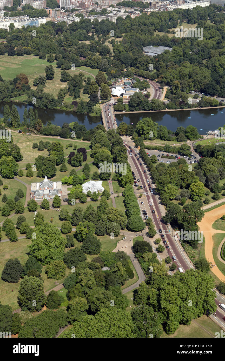 aerial view of West Carriage Drive in Hyde Park, London, as it crosses the Serpentine - Stock Image