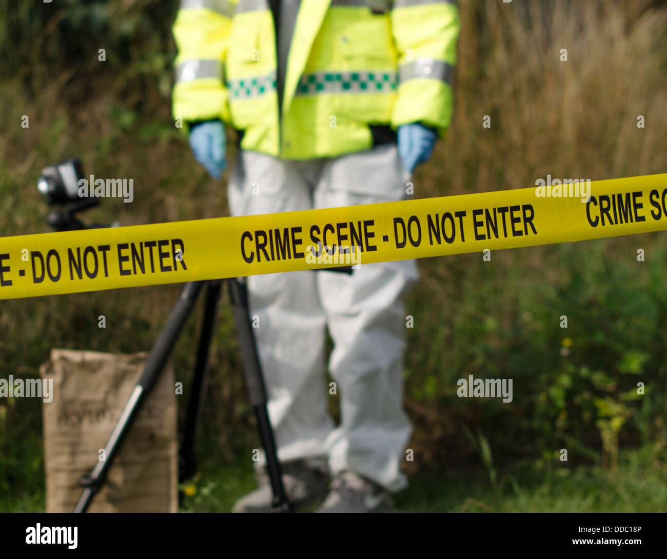 Detective checking for evidence behind a crime scene barrier - Stock Image