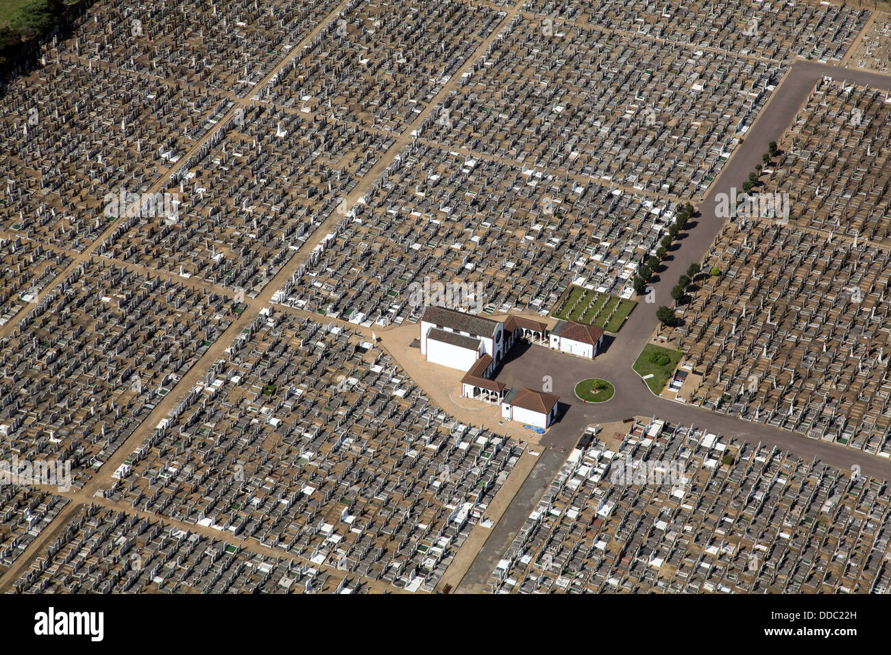 aerial view of the Jewish cemetery in East Ham, London - Stock Image