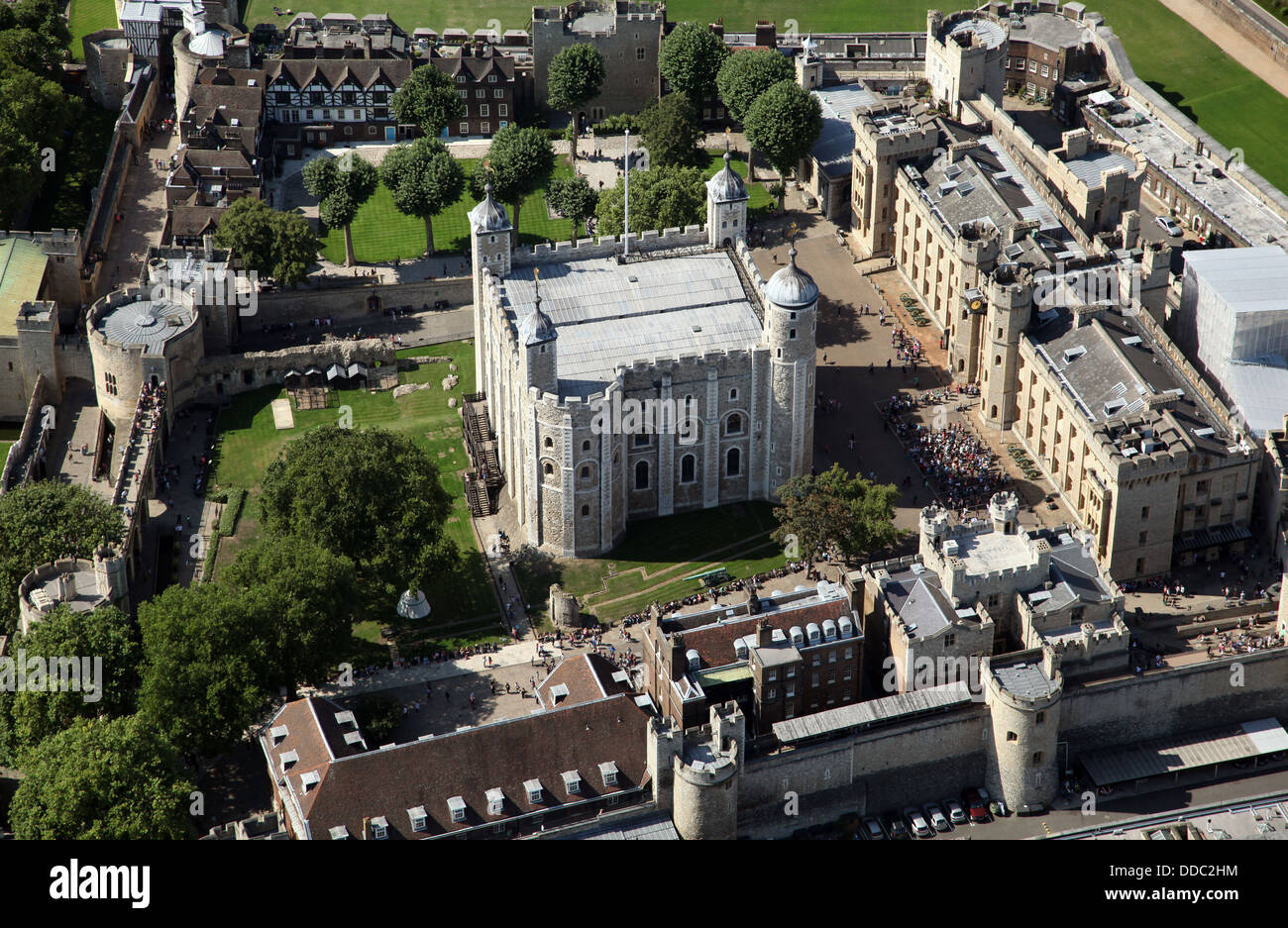 an aerial view of the Tower of London where the Royal crown jewels are kept - Stock Image