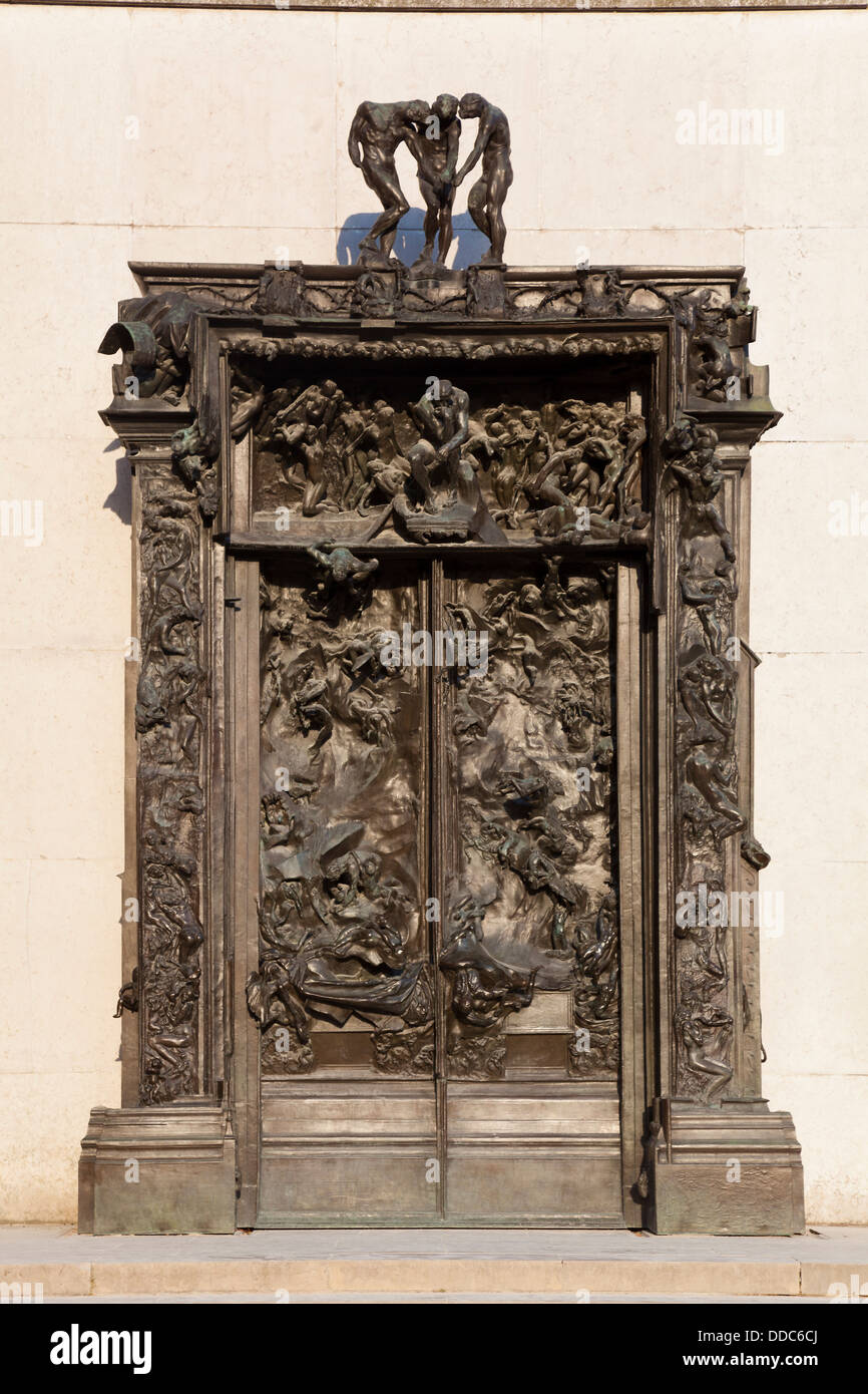 The Gates of Hell by Auguste Rodin, Rodin museum, Paris, Ile de France, France - Stock Image