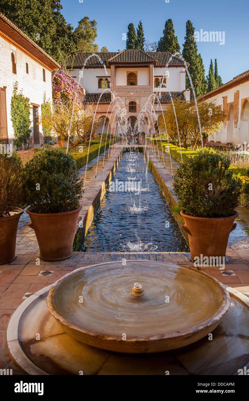 Patio de la Acequia (courtyard of irrigation ditch). El Generalife. La Alhambra. Granada. Andalusia - Stock Image