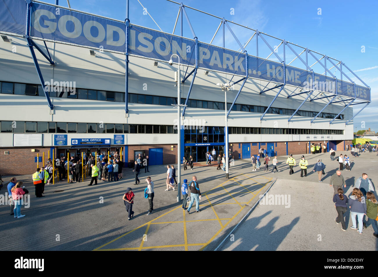 A wide angle shot of the Goodison Park stadium, home of Everton Football Club (Editorial use only). Stock Photo