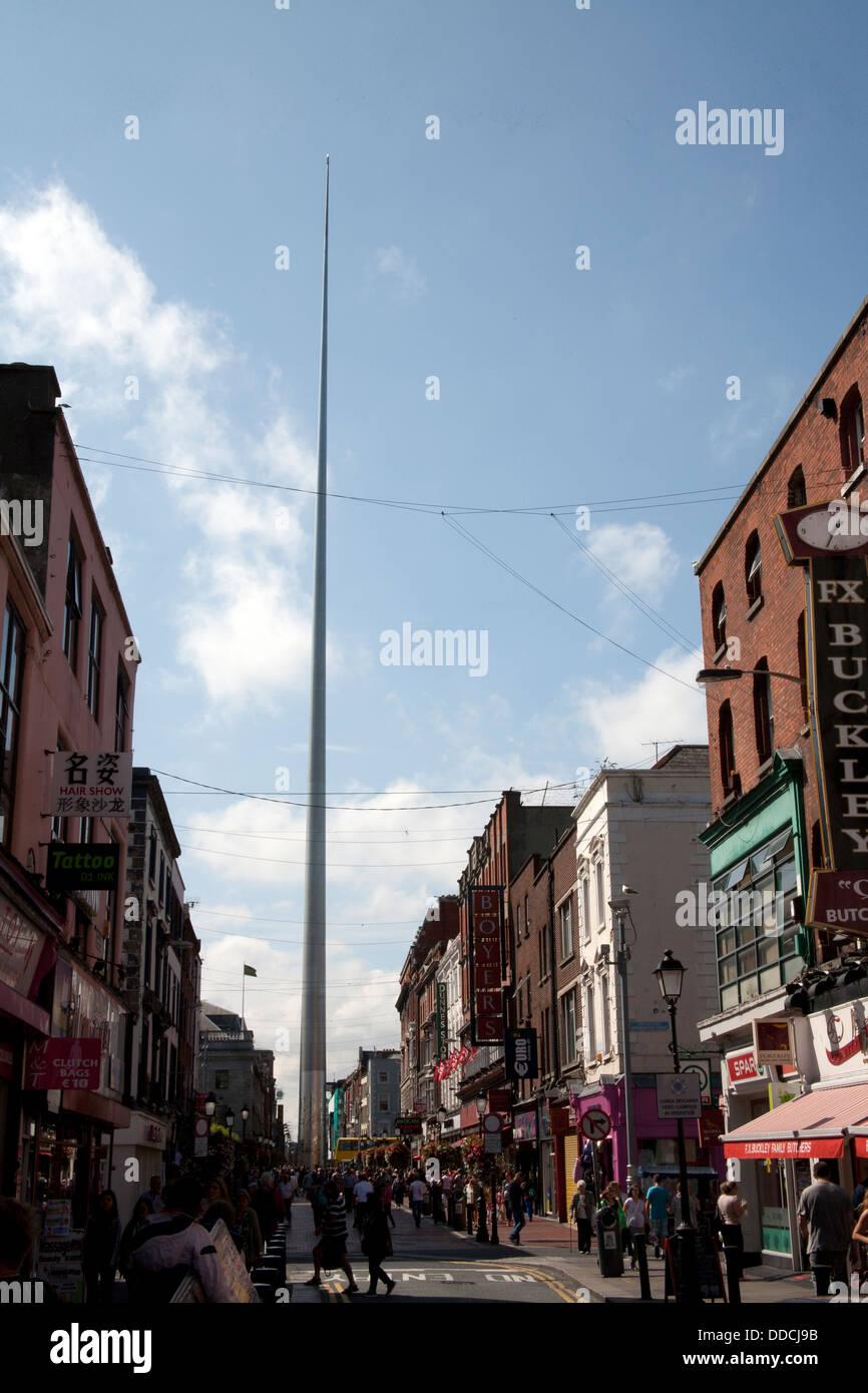 The Spire of Dublin - the Monument of Light - from Talbot Street Dublin Ireland - Stock Image