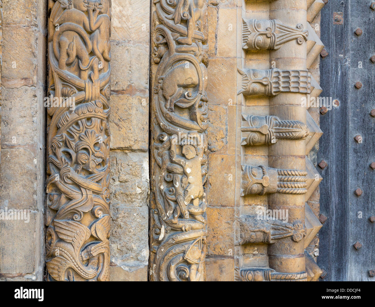 Carved masonry detail from the main entrance to Lincoln Cathedral - Stock Image