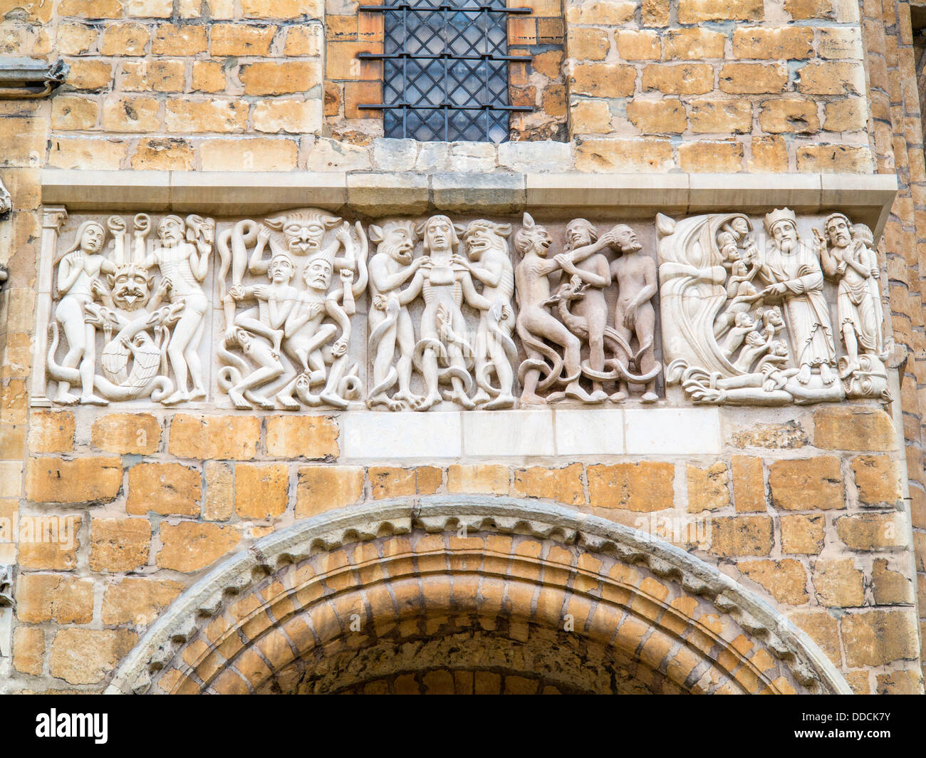 Hell carved decoration from the outside of Lincoln Cathedral - Stock Image