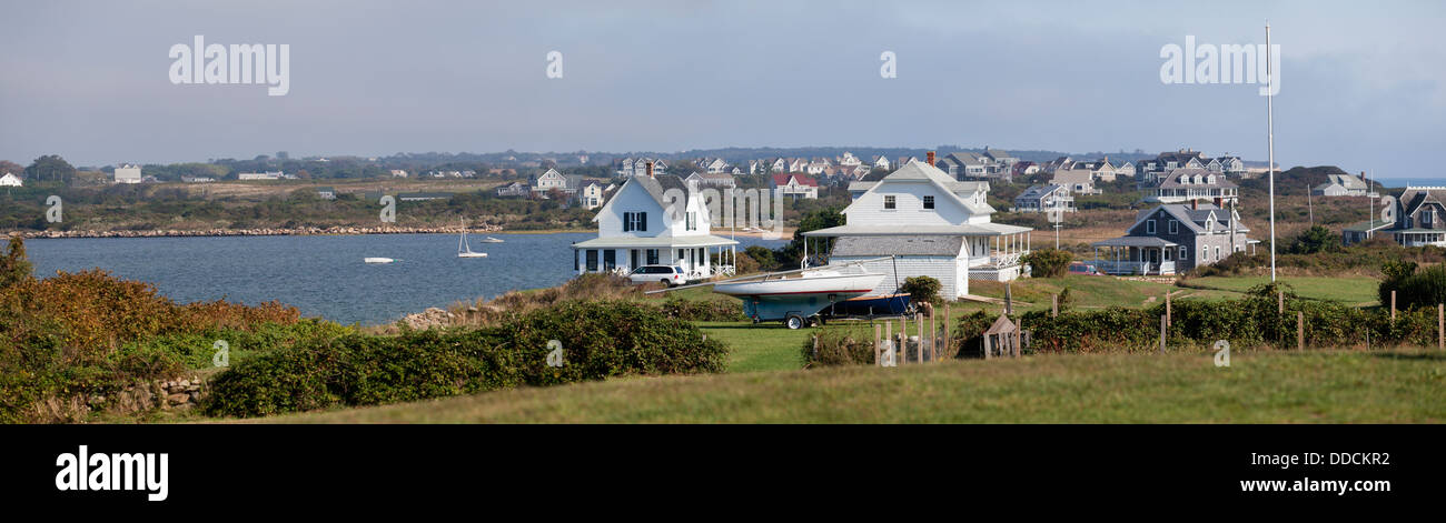 Houses on an island, Great Salt Pond, Block Island, Rhode Island, Washington County, USA - Stock Image