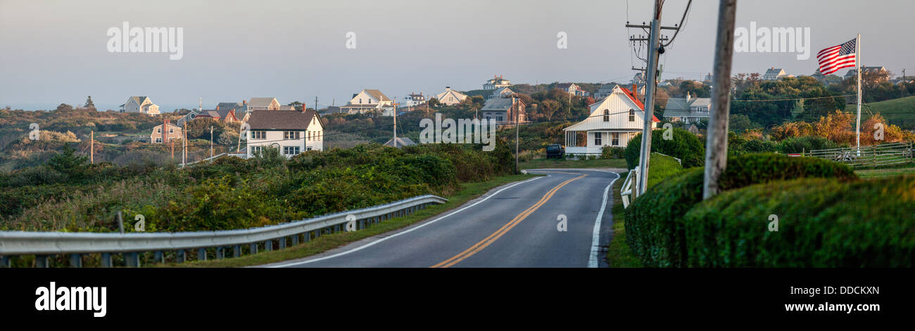 Houses on an island, Spring Street, Block Island, Rhode Island, Washington County, USA - Stock Image