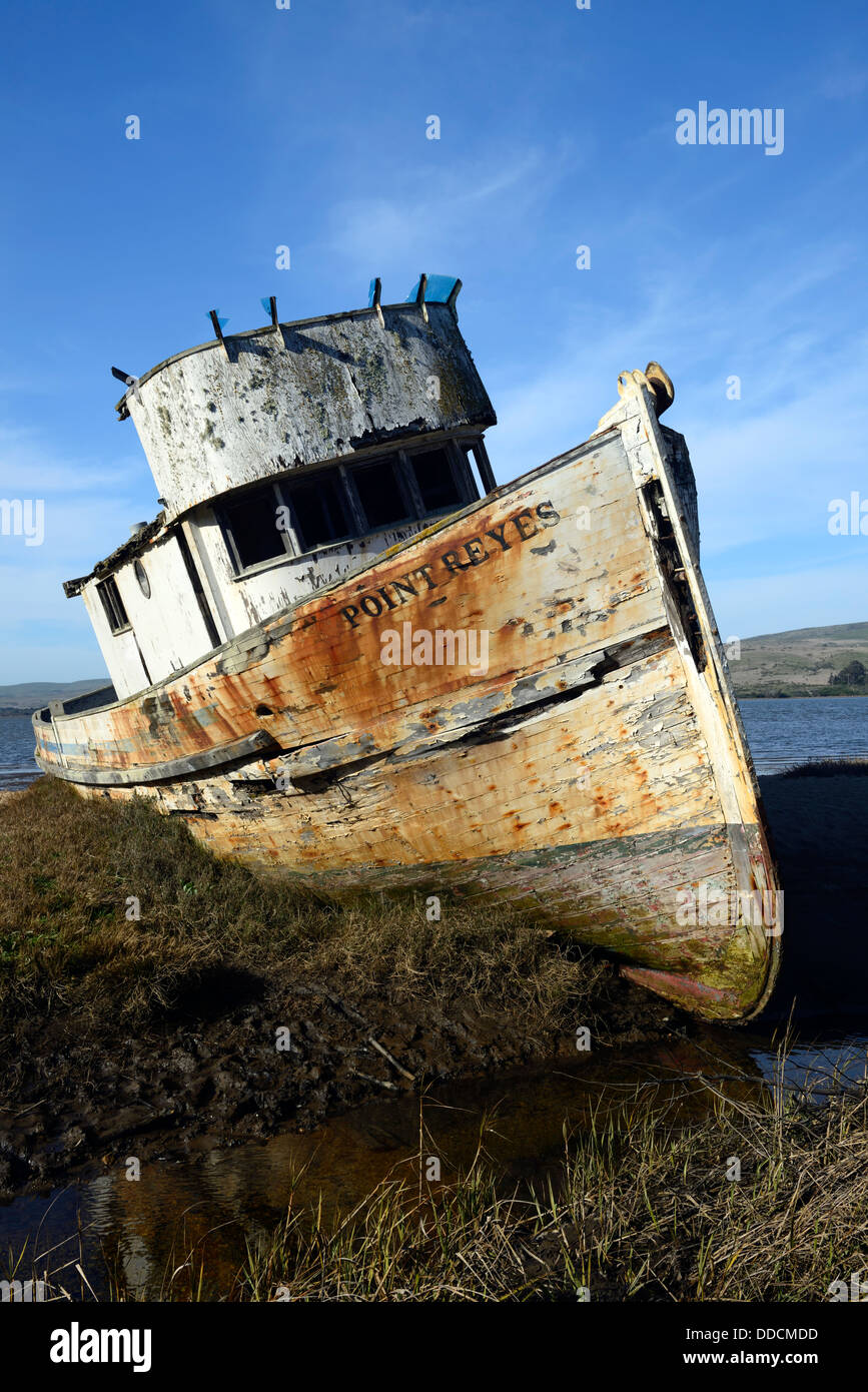 The Point Reyes abandoned shipwreck along the shore of Tomales Bay Point Reyes National Seashore California - Stock Image