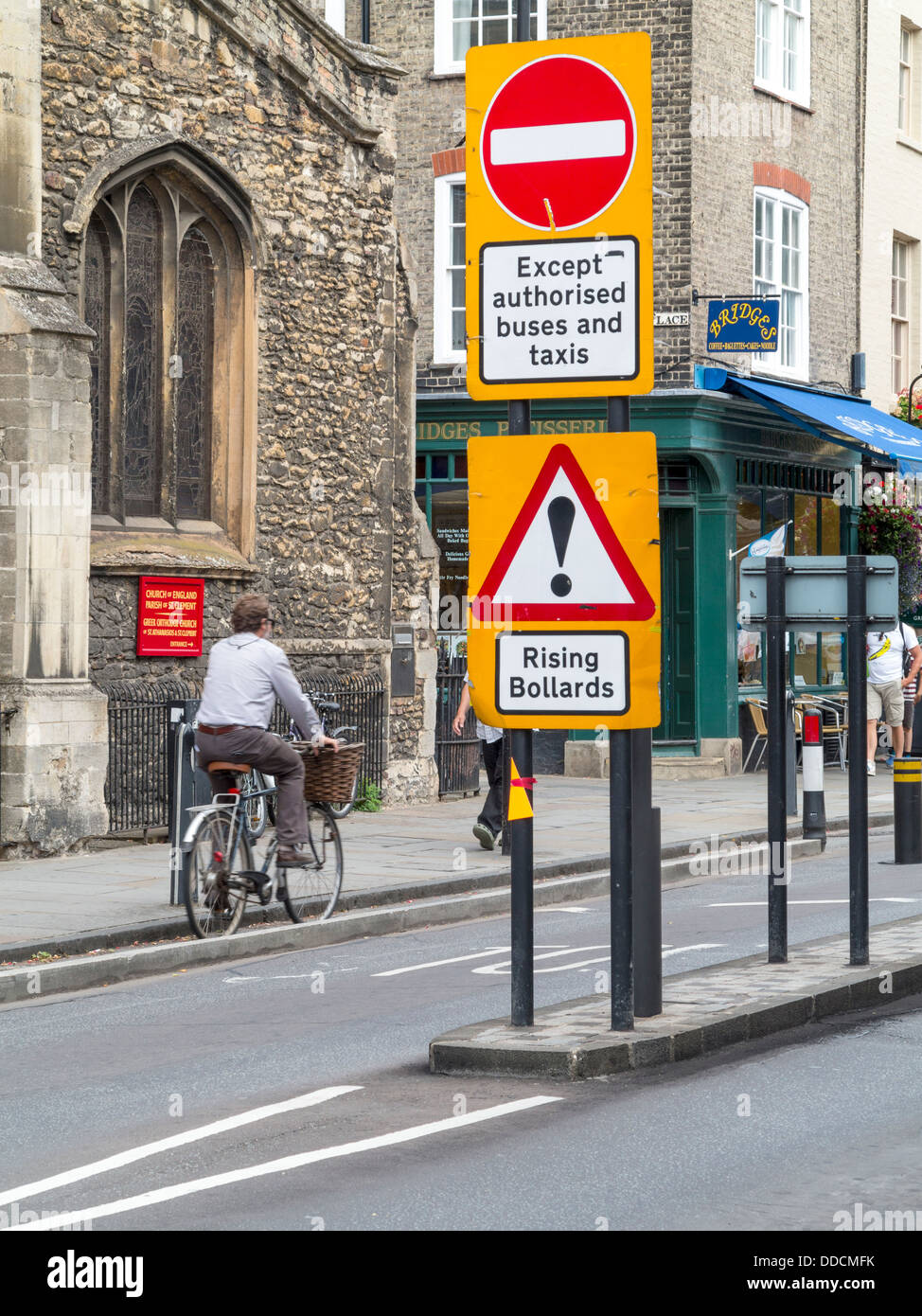 Signs prohibiting traffic with cyclist in Cambridge, England. - Stock Image