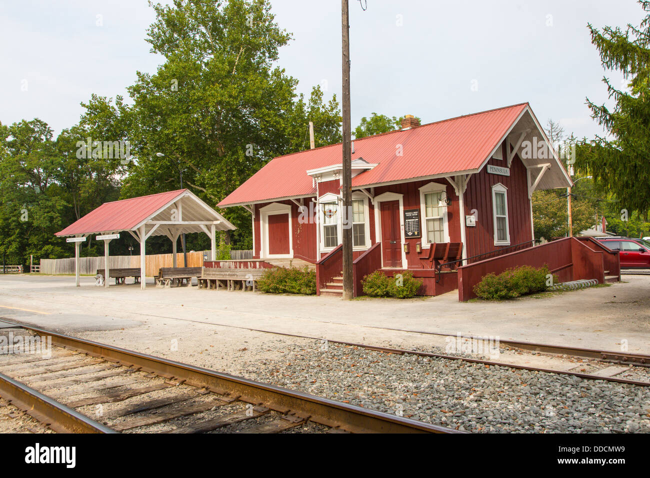 Peninsula Depot station of the Cuyahoga Valley Scenic Railroad in Cuyahoga Valley National Park in Ohio in the United - Stock Image