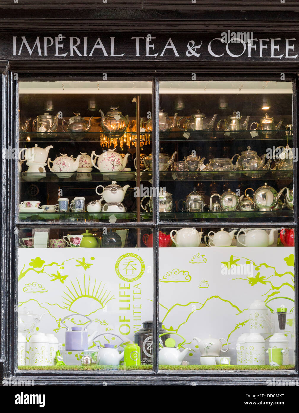 Imperia tea and coffee shop window with teapots in Lincoln, England - Stock Image