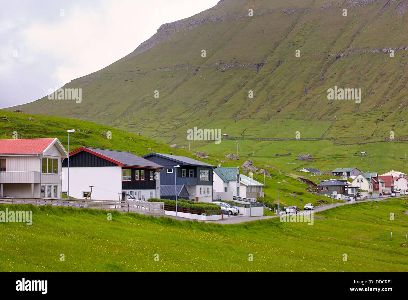 Oynadarfjordur village, Esturoy Island, Faroe Islands Stock Photo