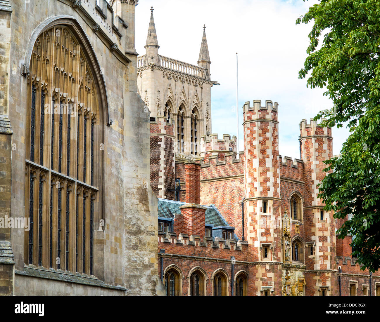 St John's College and historic buildings in Trinity Street, Cambridge, England. - Stock Image