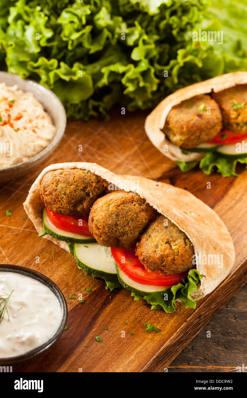 Organic Falafel in a Pita Pocket with Tomato and Cucumber - Stock Image