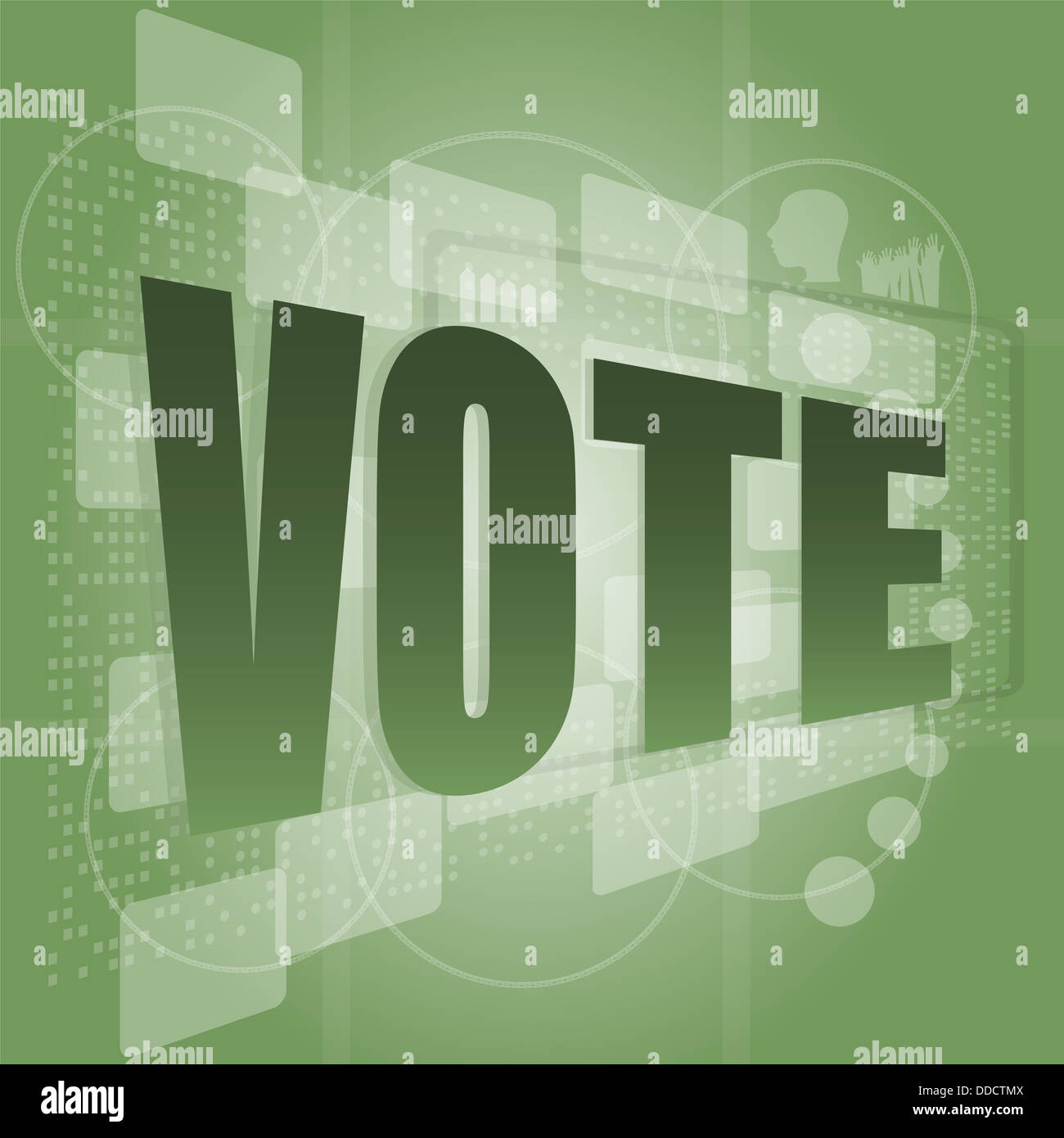 The word vote on digital screen, social concept Stock Photo